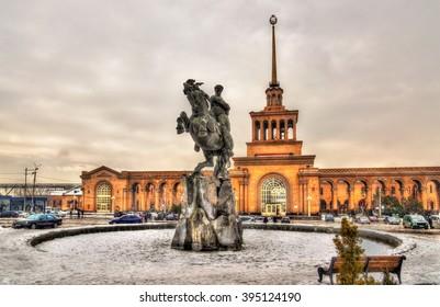 David of Sassoun statue and Yerevan Railway Station - Armenia