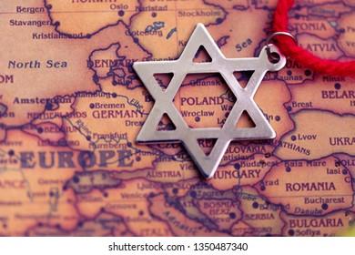 David Star on Poland part of world map. Jewish community in Poland concept.
