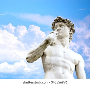 David statue against blue sky, Florence, Italy