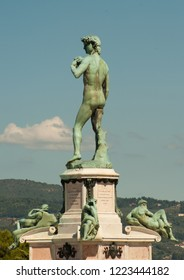 David Statue at Piazzale Michelangelo (Michelangelo Square), built in 1869 by Giuseppe Poggi on a hill just south of the historic center, on the left bank of the Arno river in Florence, Italy