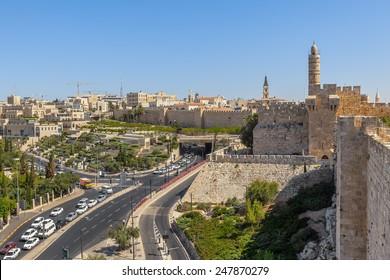David Tower, Old City surrounding walls and urban view of Jerusalem, Israel.