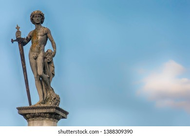 David vanqueur de Goliath (which in English translates to David winner of Goliath, or David conquers Goliath). Detail. The Jardin du Luxembourg. Paris, France