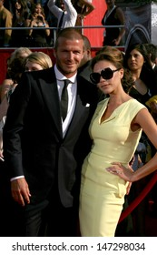 David & Victoria Beckham arriving at the 2008 ESPY Awards at the Nokia Theater in Los Angeles, CA on July 16, 2008