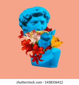 David's plaster head. Flower's concept art. On coral background.