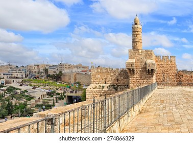 David's tower (citadel) - old city of Jerusalem and view of the new Jerusalem