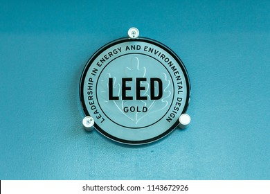 DAVIE, FLORIDA, USA - JULY 27, 2018: LEED (Leadership in Energy and Environmental Design) Gold level certification sign inside building