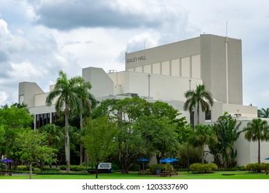 DAVIE, FLORIDA, USA - JUNE 10, 2018: Exterior of Bailey Concert Hall at Broward College Central Campus
