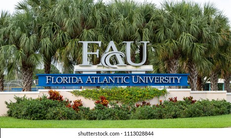 DAVIE, FLORIDA, USA - JUNE 14, 2018: Florida Atlantic University, Davie campus entrance sign