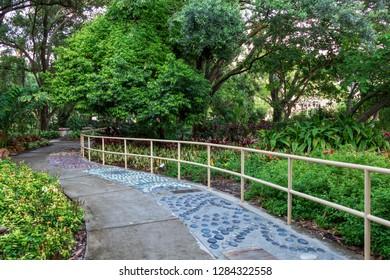 DAVIE, FLORIDA, USA - JUNE 7, 2018: Reflexology pathway at The Healing & Medicinal Garden at Nova Southeastern University (NSU)