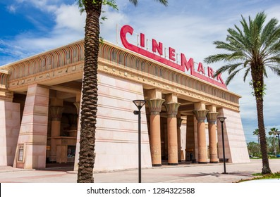 DAVIE, FLORIDA, USA - MAY 29, 2018: Front facade of Cinemark Paradise 24 movie theater with Egyptian theme