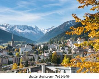 Davos in Autumn (fall), Graubunden, Switzerland, EU