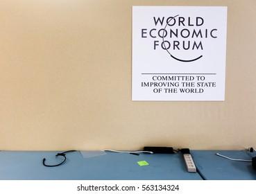 DAVOS, SWITZERLAND - Jan 17, 2017: Emblem of the World Economic Forum in Davos (Switzerland)