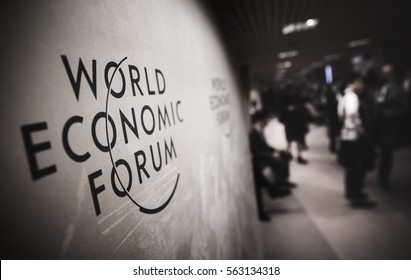 DAVOS, SWITZERLAND - Jan 18, 2017: Emblem of the World Economic Forum in Davos (Switzerland)