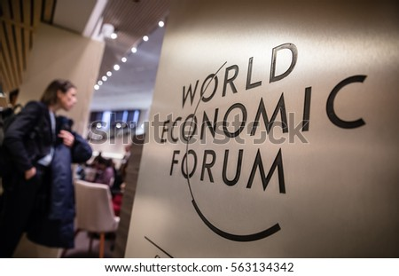 DAVOS, SWITZERLAND - Jan 18, 2017: Emblem of the World Economic Forum in Davos (Switzerland)