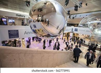 DAVOS, SWITZERLAND - Jan 19, 2017: Working moments during World Economic Forum Annual Meeting 2017 in Davos, Switzerland