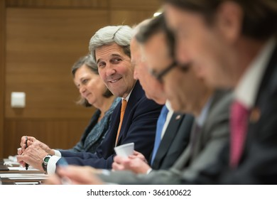 DAVOS, SWITZERLAND - Jan 20, 2016: US Secretary of State John Kerry at the World Economic Forum in Davos (Switzerland)