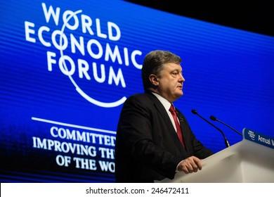DAVOS, SWITZERLAND - Jan 21, 2015: President of Ukraine Petro Poroshenko speaks at the World Economic Forum in Davos (Switzerland)