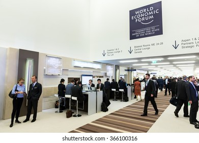 DAVOS, SWITZERLAND - Jan 21, 2016: Working moments. Participants of the World Economic Forum in Davos (Switzerland)