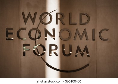 DAVOS, SWITZERLAND - Jan 21, 2016: Emblem of the World Economic Forum in Davos (Switzerland)