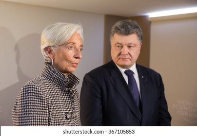 DAVOS, SWITZERLAND - Jan 21, 2016: Managing Director of the International Monetary Fund, Christine Lagarde and President of Ukraine Petro Poroshenko at the World Economic Forum in Davos (Switzerland)