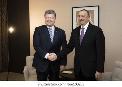 DAVOS, SWITZERLAND - Jan 22, 2016: President of Ukraine Petro Poroshenko and Azerbaijani President Ilham Aliyev during the meeting in Davos (Switzerland)
