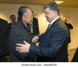 DAVOS, SWITZERLAND - Jan 22, 2016: President of Ukraine Petro Poroshenko, and Director of the World Bank, Jim Yong Kim during the meeting in Davos (Switzerland)