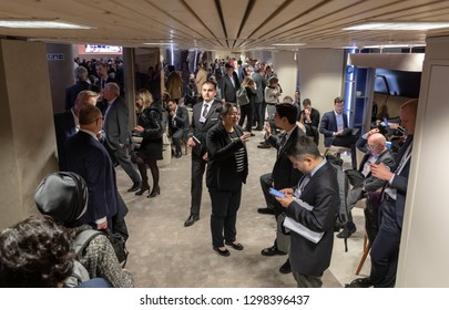 DAVOS, SWITZERLAND - Jan 23, 2019: Working moments during World Economic Forum Annual Meeting in Davos, Switzerland