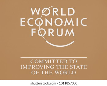 DAVOS, SWITZERLAND - Jan 24, 2018: Emblem of the World Economic Forum in Davos (Switzerland)