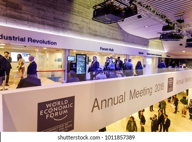 DAVOS, SWITZERLAND - Jan 24, 2018: Working moments during World Economic Forum Annual Meeting in Davos, Switzerland