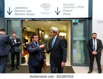 DAVOS, SWITZERLAND - Jan 24, 2018: John Kerry and Pavlo Klimkin. Working moments during World Economic Forum Annual Meeting in Davos, Switzerland