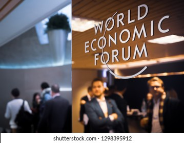 DAVOS, SWITZERLAND - Jan 24, 2019: Working moments during World Economic Forum Annual Meeting in Davos, Switzerland