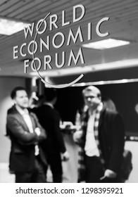 DAVOS, SWITZERLAND - Jan 24, 2019: Working moments during World Economic Forum Annual Meeting in Davos, Switzerland