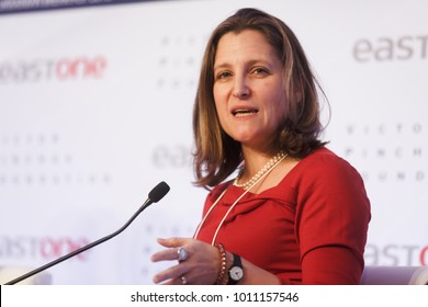 DAVOS, SWITZERLAND - Jan 25, 2018: Minister of Foreign Affairs of Canada Chrystia Freeland at World Economic Forum Annual Meeting 2018 in Davos, Switzerland