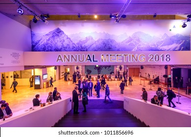 DAVOS, SWITZERLAND - Jan 25, 2018: Working moments during World Economic Forum Annual Meeting in Davos, Switzerland