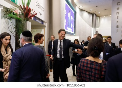 DAVOS, SWITZERLAND - Jan 25, 2018: Prime Minister of the Kingdom of the Netherlands Mark Rutte at World Economic Forum Annual Meeting 2018 in Davos, Switzerland