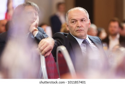 DAVOS, SWITZERLAND - Jan 25, 2018: Ukrainian businessman, industrialist, philanthropist and politician Viktor Pinchuk at World Economic Forum Annual Meeting 2018 in Davos