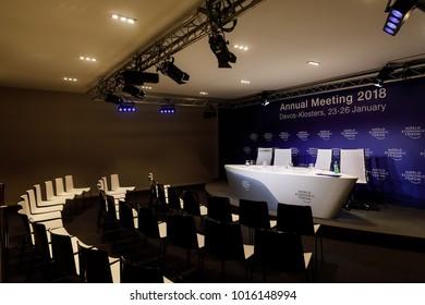 DAVOS, SWITZERLAND - Jan 25, 2018: Empty rooms before the debate begins at the World Economic Forum in Davos