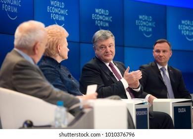 DAVOS, SWITZERLAND - Jan 26, 2018: President of Poland Andrzej Duda, President of Lithuania Dalia Grybauskaite and President of Ukraine Petro Poroshenko at World Economic Forum Annual Meeting in Davos