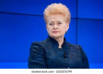DAVOS, SWITZERLAND - Jan 26, 2018:  President of Lithuania Dalia Grybauskaite at World Economic Forum Annual Meeting 2018 in Davos, Switzerland