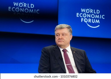 DAVOS, SWITZERLAND - Jan 26, 2018: President of Ukraine Petro Poroshenko at World Economic Forum Annual Meeting 2018 in Davos, Switzerland