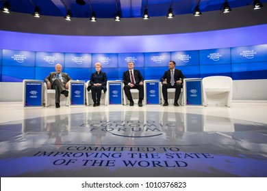 DAVOS, SWITZERLAND - Jan 26, 2018: President of Poland Andrzej Duda, President of Lithuania Dalia Grybauskaite and President of Ukraine Petro Poroshenko at World Economic Forum Annual Meeting in Davos