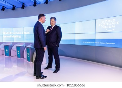 DAVOS, SWITZERLAND - Jan 26, 2018: President of Poland Andrzej Duda and President of Ukraine Petro Poroshenko at World Economic Forum Annual Meeting in Davos