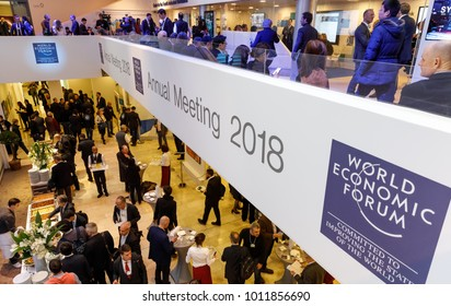 DAVOS, SWITZERLAND - Jan 26, 2018: Working moments during World Economic Forum Annual Meeting in Davos, Switzerland
