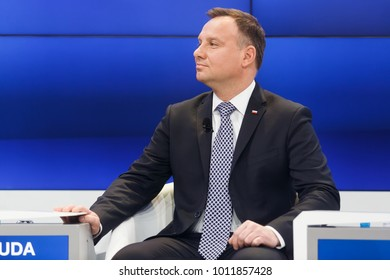DAVOS, SWITZERLAND - Jan 26, 2018: President of the Republic of Poland Andrzej Duda at World Economic Forum Annual Meeting 2018 in Davos, Switzerland
