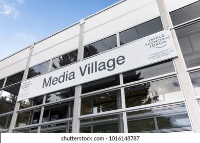 DAVOS, SWITZERLAND - Jan 26, 2018: Media Village at World Economic Forum Annual Meeting 2018 in Davos, Switzerland
