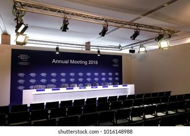 DAVOS, SWITZERLAND - Jan 26, 2018: Empty rooms before the debate begins at the World Economic Forum in Davos