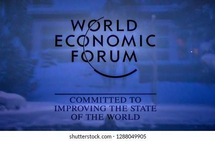 DAVOS, SWITZERLAND - JANUARY 10, 2019  : Emblem of the annual  World Economic Forum in Davos, Switzerland.