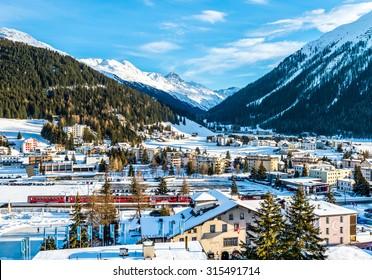 DAVOS, SWITZERLAND - JANUARY 12, 2015 : Scenery of winter resort Davos, Switzerland.