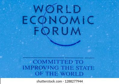 DAVOS, SWITZERLAND - JANUARY 13, 2019  : Emblem of the annual  World Economic Forum in Davos, Switzerland.