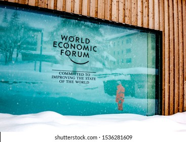 DAVOS, SWITZERLAND - JANUARY 13, 2019  : Emblem of the annual  World Economic Forum in Davos, Switzerland.